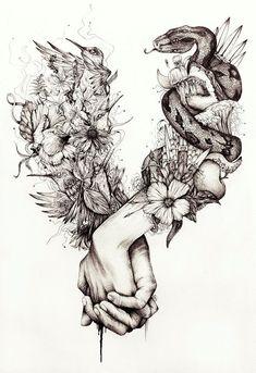 My artwork (ballpoint pen - ink - watercolor)