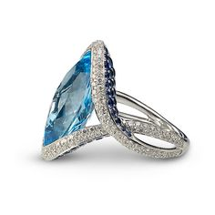 IRIS COLLECTION    18ct white gold   blue topaz   diamonds and sapphires    32mm x 15mm    £5,325.00