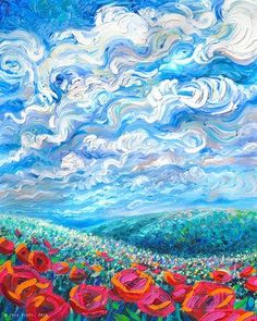 Arcadia by Iris Scott is printed with premium inks for brilliant color and then hand-stretched over museum quality stretcher bars. Money Back Guarantee AND Free Return Shipping.Official website of Iris Scott, finger painting artist working in Brooklyn NY. Painting Inspiration, Art Inspo, Van Gogh Pinturas, Van Gogh Paintings, Nature Paintings, Bright Paintings, Monet Paintings, Landscape Paintings, Art And Illustration
