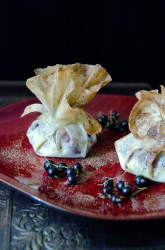 Quandong & blackcurrant croustade with wattleseed sugar