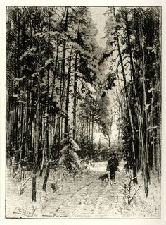 Winter landscape with a hunter walking with his dog on a leash on a snow-covered path.  1880s Etching on chine collé.  Print made by: Eduard Weichberger
