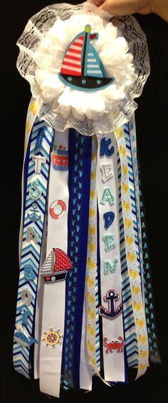 My first homemade mum! Very proud of myself I am not very creative. Sailor theme mum for my cousin Sylvia's baby shower!