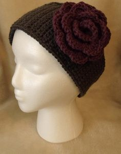 Hand Crochet Headband/Earwarmer with Flower Attached by GraniBecky, $18.00 #etsy