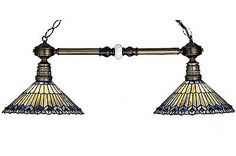 Table Lights and Lamps 75189: Pool Billiard Table Peacock Pendant Stained Glass Hanging Island Double Light BUY IT NOW ONLY: $478.8