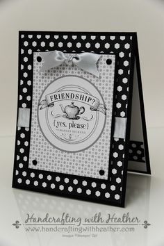 handmade card ... freindship theme ... shades of gray starting with black and white ... like the layout ... Stampin'Up!