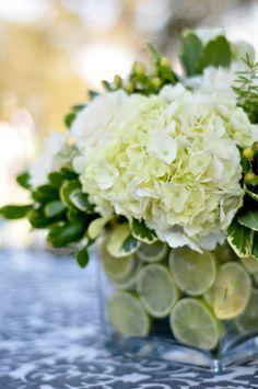 summer floral arrangement with cut limes