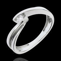 bijouterie Bague solitaire or blanc Ondine - 1 diamant : 0.07 carats