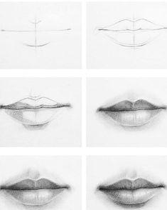 5 888 Ich zeichne gerne 52 … – – comment dessiner un …? Cool Art Drawings, Pencil Art Drawings, Art Drawings Sketches, Easy Drawings, Drawings Of Lips, Drawings Of Mouths, Drawing Techniques Pencil, Pencil Sketching, Sketching Tips