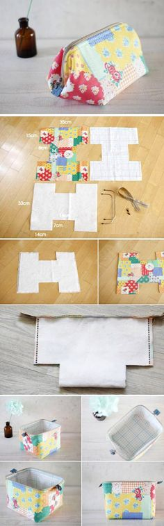 Cosmetic Bag colorful. DIY Tutorial Pattern. www.handmadiya.co...