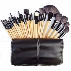 13.93$  Watch now - http://alixcr.shopchina.info/go.php?t=32790578546 - 32Pcs Professional Soft Cosmetic Eyebrow Shadow Makeup Brush Set + Pouch Bag  #buyonlinewebsite