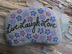 Painted Rock/Painted Stone/Beach Stone Art/Art on Stone/Lake Erie/Live Laugh Love. $14.99, via Etsy.
