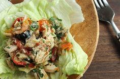Mediterranean Tuna Salad: Add roasted red peppers, red onion, garlic, oregano & sun dried tomatoes (option al)