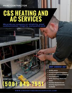 C&S Heating and AC Services have been providing residential and commercial heating, air conditioning, and electrical services to the Raynham area and its surrounding area. #CAndSHeatingAndACServices #RaynhamMassachussets #HVACSystem #HVACContractor #AirConditioningContractor #DuctsandVentsInstallation #ThermostatReplacement #AirConditioningRepairService #AirConditioningInstallation #HeatingRepair #FurnaceRepairandcleaning #FurnaceRepair #WaterHeaterReplacement #HVACMaintenance