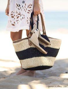 Gisela in Rio, beach accessories, white cover up, espadrilles, basket / Garance Doré