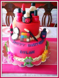 Pink & Red Spa Party Cake via Divine Party Concepts