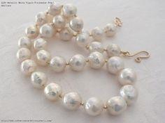 Metallic White Ripple Freshwater Pearl Necklace