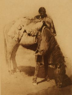 A drink in the desert, Navajo - Edward S Curtis - 1904