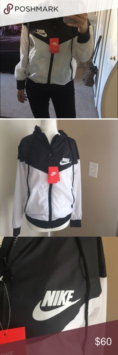 Women's Nike Windbreaker Only a few more jackets left in stock • JACKET ARE THE SAME AS THE PICTURE (COMES IN PACKAGE) • comment if interested  • jackets come brand new NEVER WORN • size medium but fits like a small with a little extra room :)  • price is firm • don't miss out on this offer ! Retail price is $100-$125. I can ship out as soon as you buy! •comment your height & weight if you're un sure about the size IF YOURE INTERESTED Nike Jackets & Coats