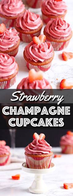 Strawberry Champagne Cupcakes are soft and moist with a creamy and tangy Moscato infused strawberry cream cheese frosting. Cupcake Flavors, Cupcake Recipes, Baking Recipes, Dessert Recipes, Köstliche Desserts, Delicious Desserts, Alcoholic Desserts, Wedding Desserts, Mini Cakes