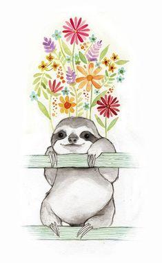 Baby Sloth, Cute Sloth, Baby Otters, Animal Drawings, Cute Drawings, Sloth Drawing, Sloth Tattoo, Image Svg, Illustration Art