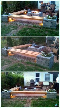 DIY Propane Fireplace & Corner Benches with Landscape Lighting and Pillars with P . DIY Propan-Kamin & Eckbänke mit Landschaftsbeleuchtung und Säulen mit P … DIY Propane Fireplace & Corner Benches with Landscape Lighting and Pillars with P … Diy Propane Fire Pit, Fire Pit Backyard, Backyard Bbq, Backyard Seating, Patio With Firepit, Patio Fire Pits, Deck With Fire Pit, Outdoor Propane Fire Pit, Concrete Fire Pits