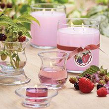 Beautiful candles in Wild Strawberry pink! Tealights, votives, GloLites, jar candles and more!