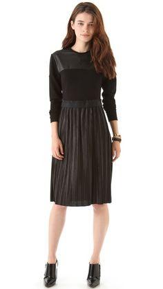 Markus Lupfer Leather Look Pleated Dress $560