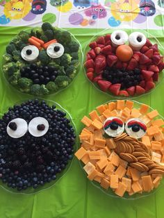 Sesame Street Fruit and Veggie Trays for a Sesame Street themed birthday party.