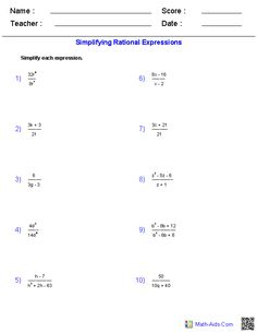 Rational Expressions Worksheets Algebra 2 Worksheets | Educational ...