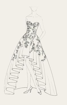 Wedding Dress with embroidered Flowers and beads. By Moda Artisans Dress Design Drawing, Dress Design Sketches, Fashion Design Sketchbook, Fashion Design Drawings, Drawing Art, Drawing Sketches, Sketchbook Drawings, Fashion Figure Drawing, Fashion Drawing Dresses