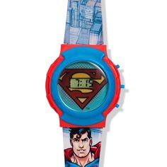 """Super man watch with flashing lights band 9"""" L ages 6 & up reg. Price $9.99"""