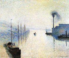 Camille Pissarro, Ile Lacroix, Rouen. Effect of Fog. 1888 on ArtStack #camille-pissarro #art