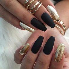 Matte Black and Gold Metallic Nail Art Design