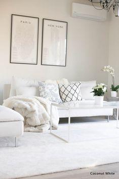 Olohuoneen hidas koristelu ja tunne kadoksissa | Coconut White