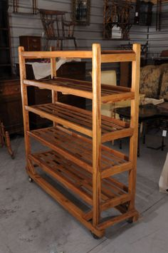 Rolling Trolley (Display Cart) with Slatted Shelves of Long Pine image 2