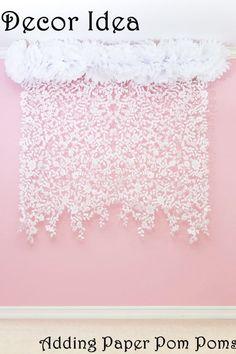 Lace Felt Garland, Wedding Photo Backdrop, Photography Back drop, wedding decor, curtain, modern home decor, nursery decor