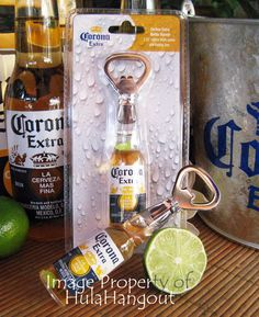 Corona Extra Bottle Opener with fridge magnet. Mini beer bottle with lime. HulaHangout.com