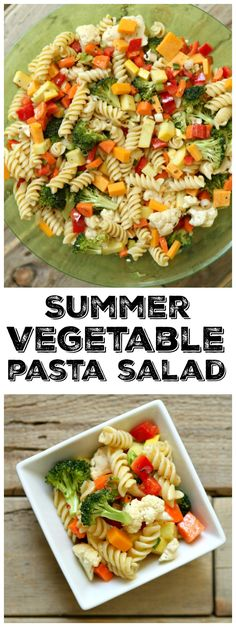 Easy Summer Vegetable Pasta Salad recipe: perfect for parties, BBQ's and potlucks.