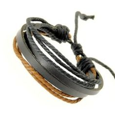 Neptune Giftware Mens Black Leather Double Strap & Black & Brown Coloured Cords Leather Bracelet / Leather Wristband / Sur... $9.99