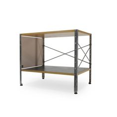 Eames Storage Unit 1 x 1 or ESU designed by the Eameses in the 1950s and executed by Herman Miller. Birchwood top, off-white side panel, black shelf and zinc-coated steel frame. Origination: United States, ca. 1980s