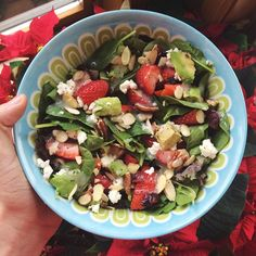 So delicious! organic spring mix salad with strawberries, dried cranberries, avocado, pecans, slivered almonds, feta cheese and Panera brand poppyseed dressing. Instagram - goodhealthgoodvibes