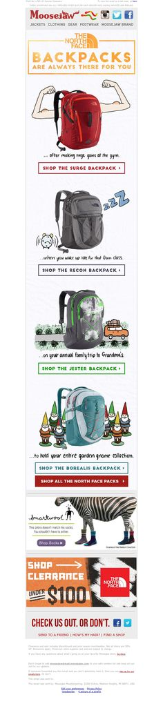 Moosejaw - T7/31/15 SL: he North Face Backpacks - Always There For You