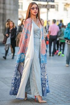 Parisian Street Style: | Pastel Trousers + V-Neck Shirt + Floor Length Sweater + Layered Crystals Necklace + (Optional) Flattened Hair.