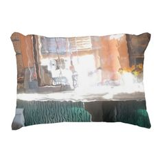 Afternoon sunlight, train station, accent pillow by ZoeSPEAK.