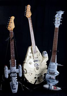 Star Wars Spaceships Electric Guitars- my hubs would faint of I brought these home for him!