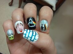 GET PINK.... Pink Floyd album nail art.  This is poorly executed but LOVE the concept! #love #musthave #want