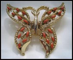 Vintage - Gerry Coral Butterfly Brooch by VintageWay for $15.25