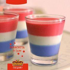 Un dessert pour le 14 juillet avec cette Panna Cotta originale au couleur du drapeau Français !