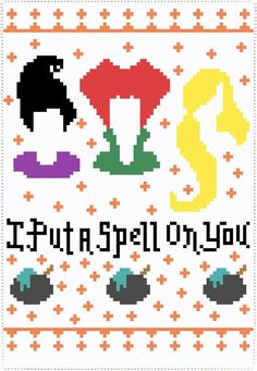 Can we all agree that Hocus Pocus is the best Halloween movie of all time? This cross stitch pattern is the perfect addition to your Halloween decor. Beaded Cross Stitch, Cross Stitch Embroidery, Cross Stitch Patterns, Stitching Patterns, Loom Beading, Beading Patterns, Loom Patterns, Halloween Rocks, Halloween Party
