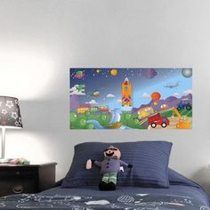 Mona Melisa Designs Cars/Trucks Hanging Wall Mural Airplane color: Green, Dumptruck color: Red, Sailboat Flag Color: Purple, Tractor color: Yellow